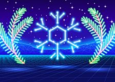 Christmas card with 80s neon snowflake Royalty Free Stock Image