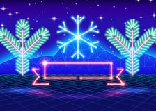 Christmas card with 80s neon snowflake Royalty Free Stock Photo