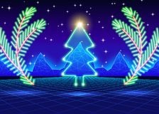 Christmas card with 80s neon tree. Christmas card with neon tree and 80s computer background Stock Images