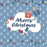Christmas background,  illustration. Christmas card with New Year Attributes on the background of Christmas trees Stock Images