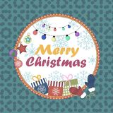 Christmas background,  illustration. Christmas card with New Year attributes in the form of a ball Stock Images
