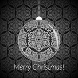 Christmas card with New Year ball with snowflakes on seamless background. Stock Image