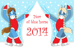 Christmas card. Christmas or New Year card with cute blue  horses as symbol of the year Stock Images