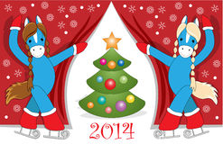 Christmas card 3. Christmas or New Year card with cute blue  horses as symbol of the year Royalty Free Stock Images