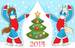 Christmas card 4. Christmas or New Year card with cute blue  horses as symbol of the year Stock Image