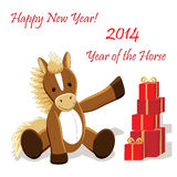 Christmas card 5. Christmas or New Year card with cute horse as symbol of the year Royalty Free Stock Images
