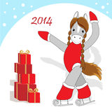 Christmas card 2. Christmas or New Year card with cute horse as symbol of the year Royalty Free Stock Photos