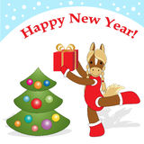 Christmas card 5. Christmas or New Year card with cute  horse as symbol of the year Stock Image