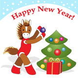 Christmas card 7. Christmas or New Year card with cute  horse as symbol of the year Royalty Free Stock Photography
