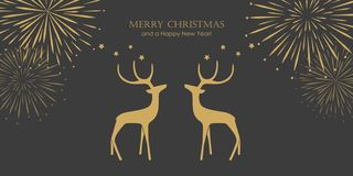 Christmas card with new year fireworks and reindeers royalty free illustration