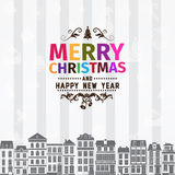 Christmas card and New Year greetings. With colorful letters and simple clean design elements on light gray and white background with vertical strips for Royalty Free Stock Photos