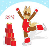 Christmas card 2. Christmas or New Year card with horse as symbol of the year Stock Photo