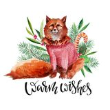 Christmas handdrawn Watercolor card with red fox in sweater, and lettering `Warm wishes`. Christmas card and new year illustration with red fox in sweater Royalty Free Stock Photos