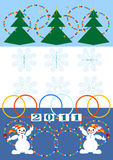 Christmas card.New Year! Postcard. New Year greeting card with Christmas trees and snowmen. Postcard Royalty Free Stock Photos