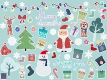 card with New Year`s characters royalty free illustration