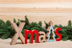 New Year card. Christmas card. New Year`s town, houses, wooden letters Christmas stock images