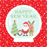 Christmas card. New Year 2015. Christmas card with Santa Claus, Penguin, Reindeer Vector Illustration