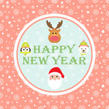 Christmas card. New Year 2015. Christmas card with Santa Claus, White Bear, Penguin and Reindeer. Seamless winter background with snowflakes. Vector image Vector Illustration