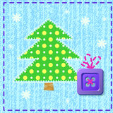 Christmas card. Christmas and New Year card with sewing button as gift and Christmas tree on fabric with stitch Royalty Free Stock Photography