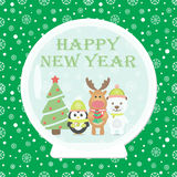 Christmas card. New Year 2015. Christmas card with White Bear, Penguin, Reindeer Christmas tree in Snow globe. Seamless winter background with snowflakes Royalty Free Illustration