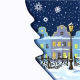 Christmas card with night city views Royalty Free Stock Photo
