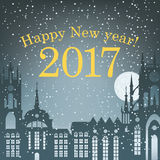 Christmas card for 2017. With a night cityscape in the old city with the moon and snow Royalty Free Stock Image