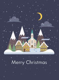 Christmas card with night snowy cityscape flat. Vector on blue background Stock Photo