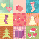 Christmas card with nine patches Royalty Free Stock Photo