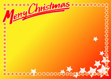 Christmas card no. 5. Merry christmas. These hand drawn words over a yellow and orange background with a frame of stars to use as a template Royalty Free Stock Photography