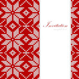 Christmas card, nordic knitted pattern,  Stock Photos