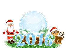 Christmas card with numbers 2016 Stock Photography