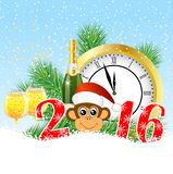 Christmas card with the numbers the year 2016,  clock and  champ. Agne, vector illustration Royalty Free Stock Photo