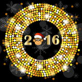 Christmas card with the numbers of the year 2016 and monkey Royalty Free Stock Photos