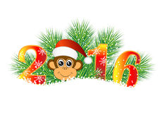 Christmas card with the numbers of the year 2016 and monkey Stock Images