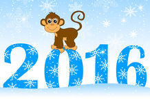 Christmas card with the numbers of the year 2016 and monkey. Vector illustration Royalty Free Stock Photo