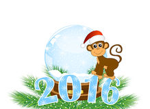 Christmas card with the numbers of the year 2016 and monkey Royalty Free Stock Photo