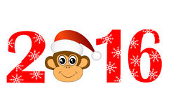 Christmas card with the numbers of the year 2016 and monkey Royalty Free Stock Photography