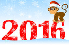 Christmas card with the numbers of the year 2016 and monkey Stock Image