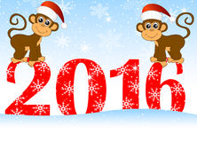 Christmas card with the numbers the year 2016 and two monkeys Royalty Free Stock Photos