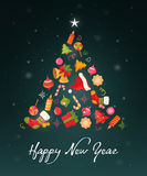 Christmas card with objects and text Royalty Free Stock Photography