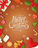 Christmas card with objects and text Royalty Free Stock Image
