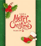 Christmas card with objects and text Stock Image