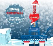 Christmas card for oil and gas workers. Christmas greeting card for oil and gas industry workers. Typical oil mining platform with drilling tower located on the Stock Image