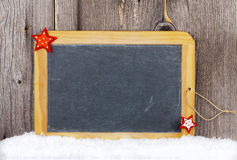 Christmas Card with old Slate Chalkboard and Copy Space Stock Photo