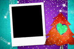Christmas card with one instant photo frame Stock Photos