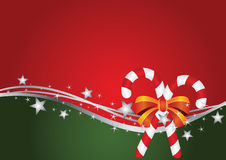 Christmas card with orange ribbon and silver stars Stock Photos