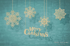 Christmas card with origami Christmas decoration. Royalty Free Stock Photo