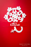 Christmas card with origami Christmas decoration. Stock Image
