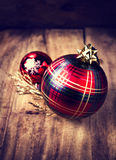 Christmas card with ornaments and shiny festive  red glass balls Royalty Free Stock Photo