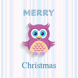 Christmas card with owl Stock Images